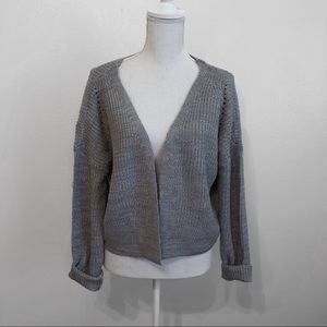 Grey boxy crop cardigan